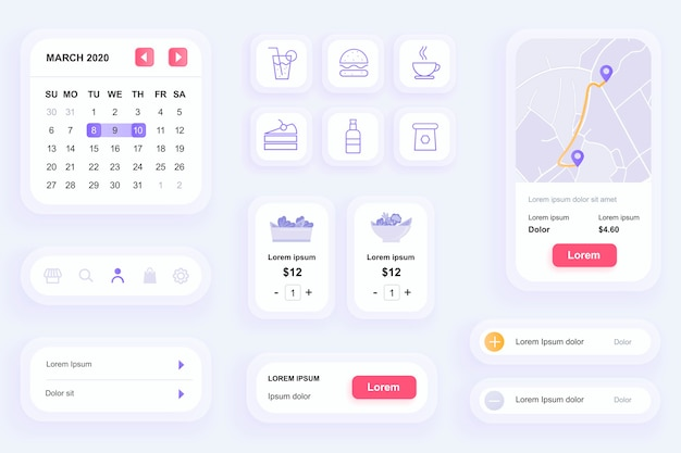 Gui elements for food delivery mobile app ui, ux toolkit Premium Vector