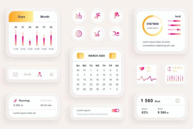 피트니스 운동 모바일 앱 Ui, Ux 툴킷 용 Gui 요소 프리미엄 벡터