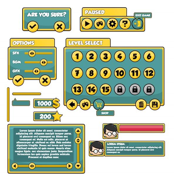 カジュアルゲームのgui Premiumベクター