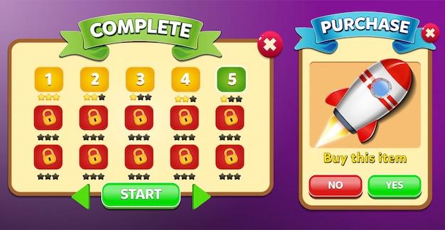 レベルの選択と購入メニューが表示され、星のスコアとボタンのguiが表示されます Premiumベクター