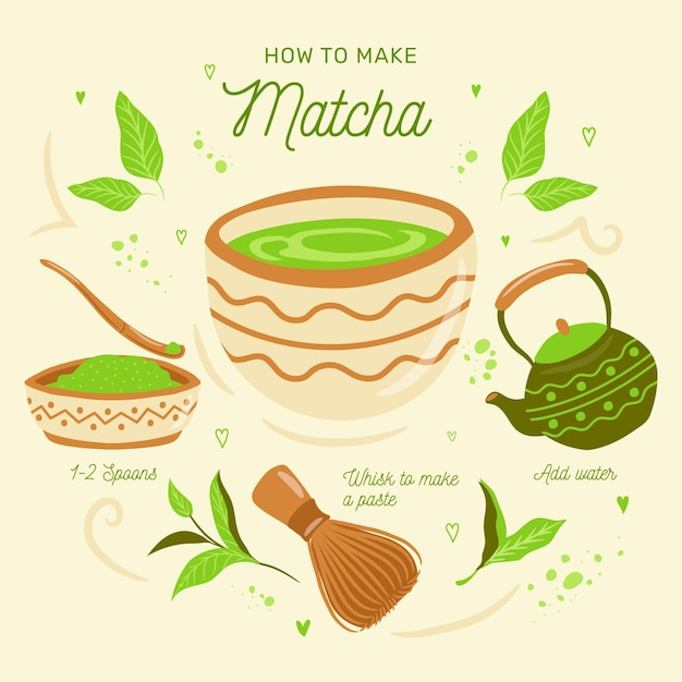 Guide on how to make matcha tea Free Vector
