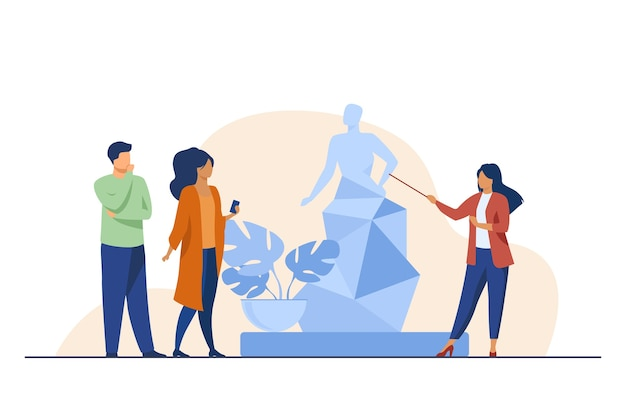 Guida che racconta la scultura ai turisti. museo, viaggi, illustrazione vettoriale piatto per il tempo libero. concetto di arte e intrattenimento Vettore gratuito