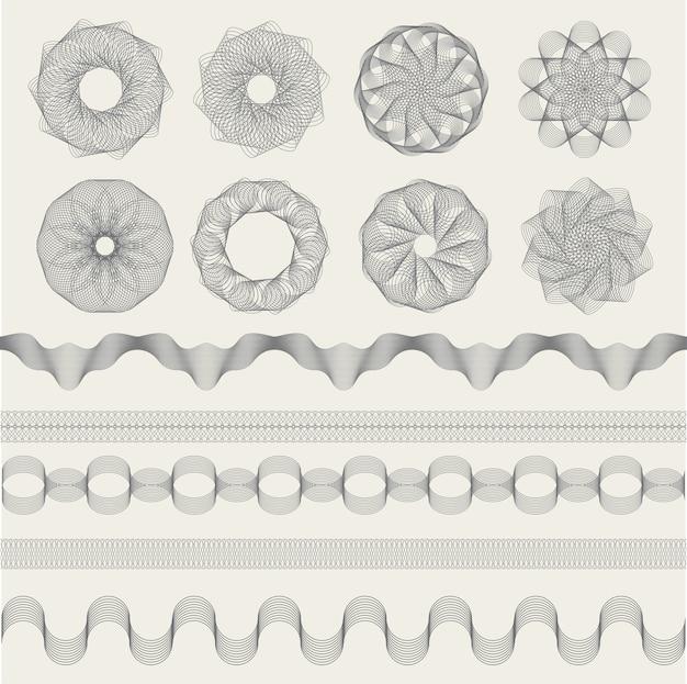 기 로쉐 그래픽. 쿠폰 돈 지폐 또는 인증서 표지판 컬렉션 모양에 대 한 빈티지 조각 파도. 인증서 웨이브 그래픽 워터 마크, 장식 패턴 일러스트 프리미엄 벡터