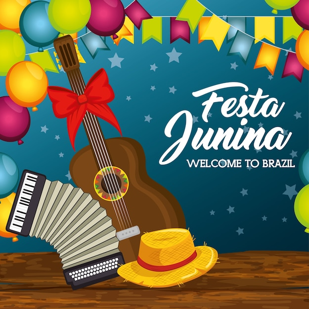 Guitar accordion and hat on wooden table with balloons and banners over blue background vector illus Premium Vector