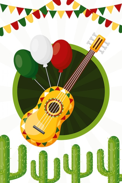Guitar and ballons of mexican culture, illustration Free Vector