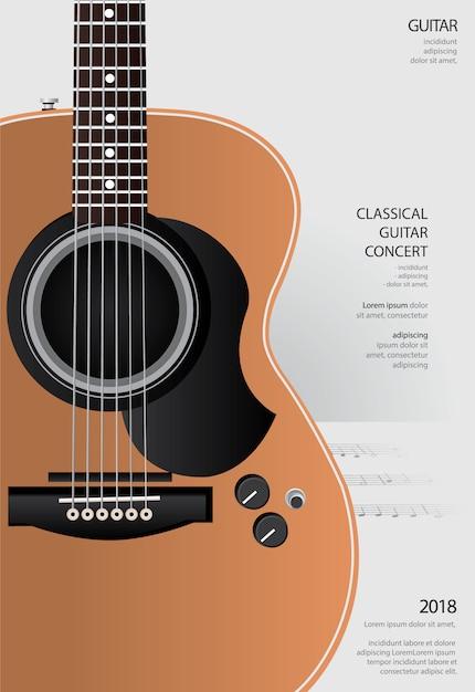Guitar concert poster background template illustration Premium Vector