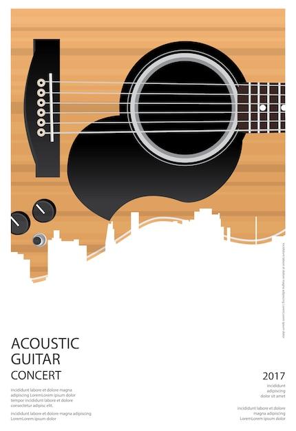 Guitar concert poster background template vector illustration Premium Vector