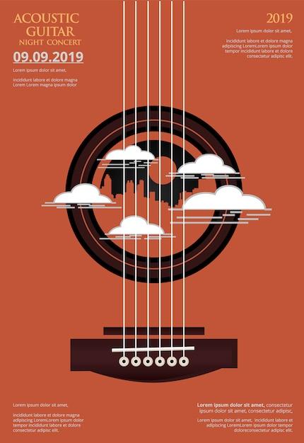 Guitar concert poster background Premium Vector