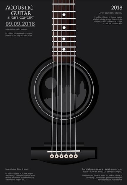 Guitar concert poster Premium Vector