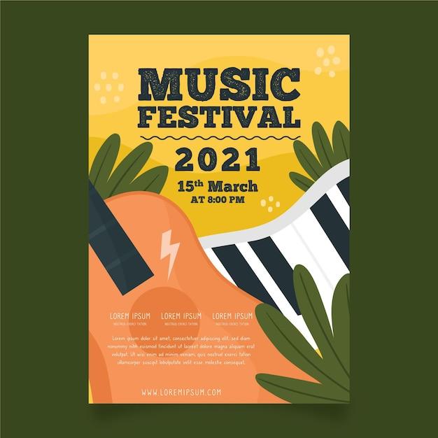 Modello di manifesto di eventi di musica per chitarra e tastiera Vettore gratuito