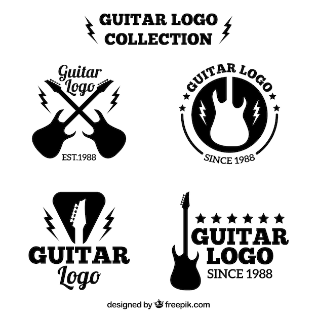 Guitar logos set Free Vector