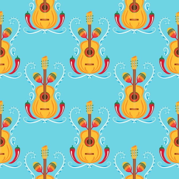 Guitar, maracas, red chili. mexican seamless pattern. decor for cinco de mayo. can be used as wallpaper, wrapping paper, packing, textiles Premium Vector