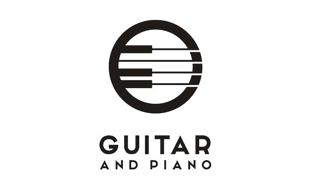 ギターピアノのロゴデザイン Premiumベクター