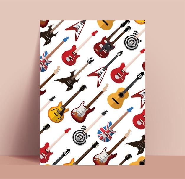 Guitar poster. rock music poster  template with various guitars pattern Premium Vector