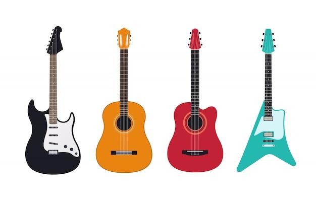 Комплект гитары, акустическая, классическая, электрогитара, электроакустическая. струнные музыкальные инструменты. Premium векторы