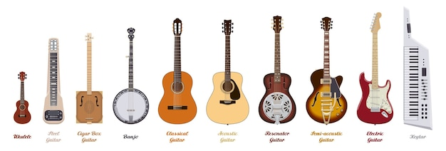 Premium Vector Guitar Set Realistic Guitars Of Different Types On White Background Musical Instruments