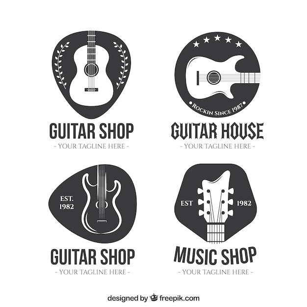 Guitar Shop Logo Collection Free Vector