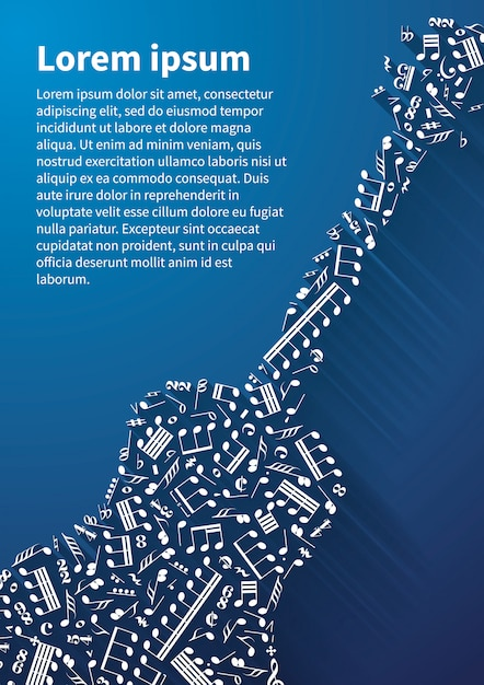 Guitar silhouette made up from music notes and signs on blue background Premium Vector