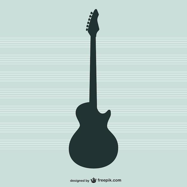 Chitarra vettore silhouette Vettore gratuito