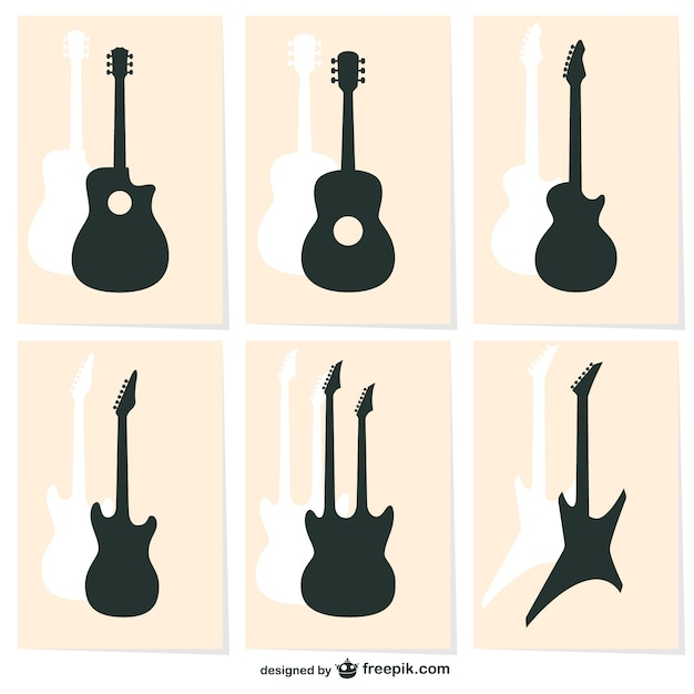 guitar silhouettes vector free download rh freepik com bass guitar silhouette vector guitar player silhouette vector