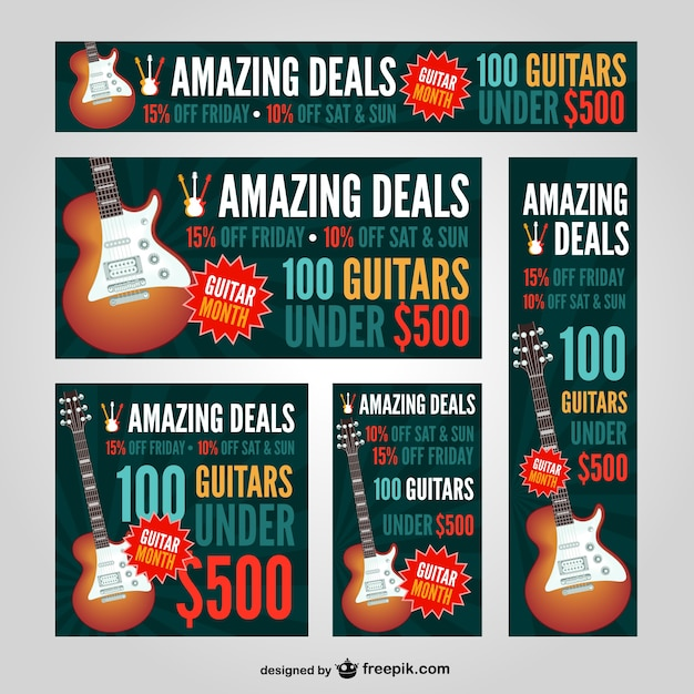 Guitar web banners set Vector | Free Download