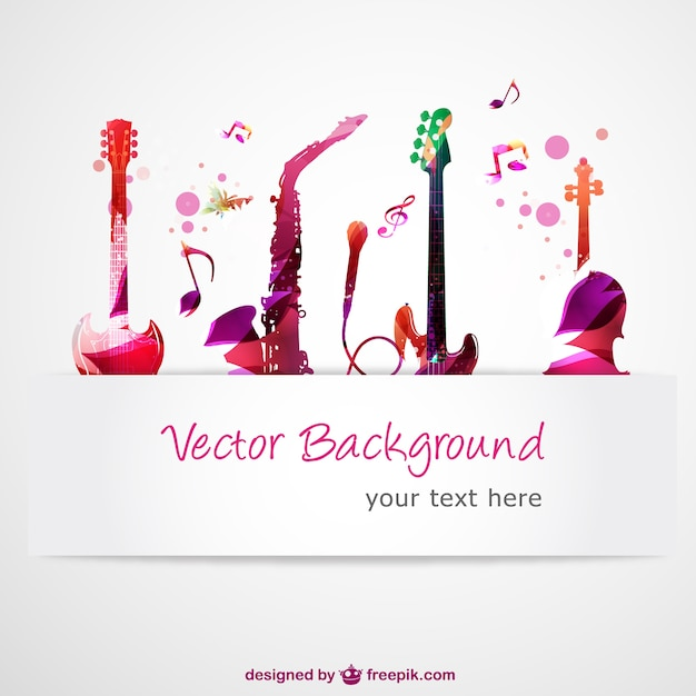 Guitars and saxophone with music notes Free Vector