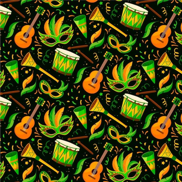 Guitars and masks brazilian carnival pattern flat design Free Vector