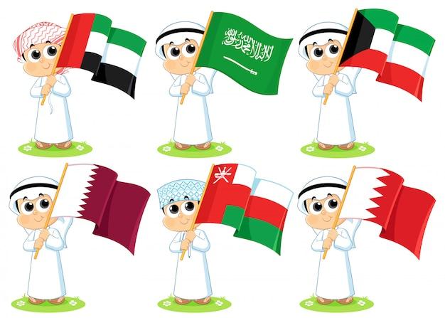 Флаги совета сотрудничества стран залива (объединенные арабские эмираты, саудовская аравия, кувейт, катар, оман и бахрейн) Premium векторы
