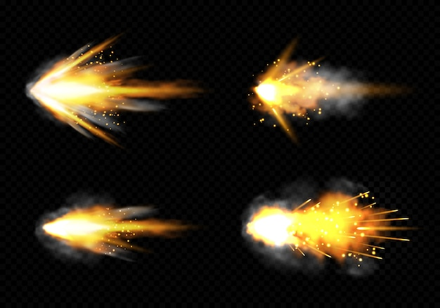 Gun flashes with fire and smoke. pistol shots set Free Vector