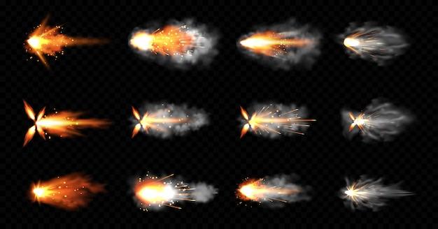 銃は煙と火の輝きで点滅します。ピストルショット雲、銃口ショットガン爆発。爆風の動き、黒い背景に分離された武器の弾丸の軌跡。リアルな3dイラスト、アイコンセット 無料ベクター