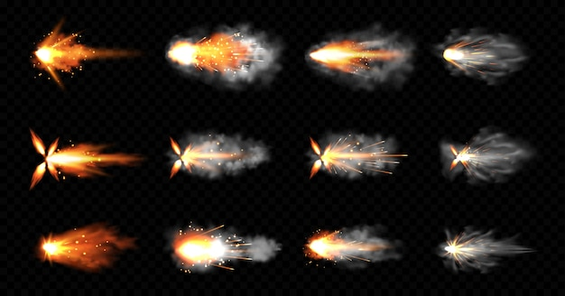 Gun flashes with smoke and fire sparkles. pistol shots clouds, muzzle shotgun explosion. blast motion, weapon bullets trails isolated on black background. realistic 3d illustration, icons set Free Vector