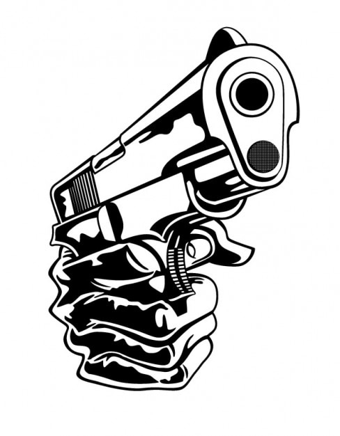 Gun in hand closeup Vector | Free Download