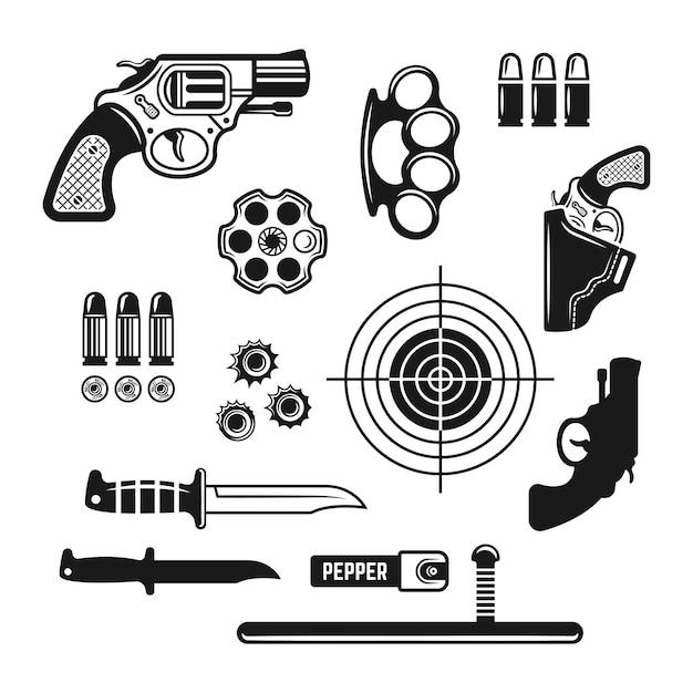 Gun shop, shooting club or range set of vector monochrome design elements isolated on white Premium