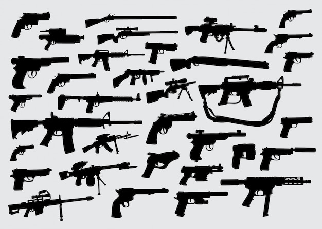 Gun weapon silhouette Premium Vector