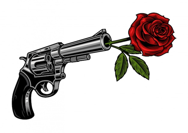 Gun with rose Free Vector
