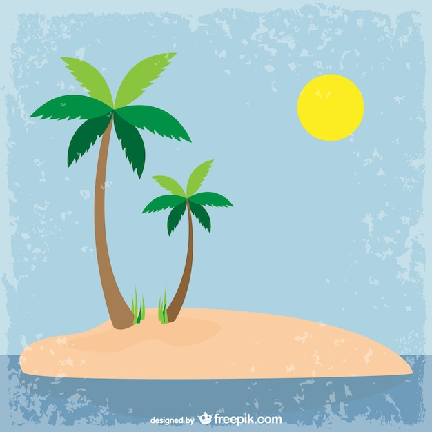 Palm Tree Island: Gunge Island Background With Palm Trees Vector