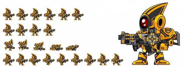 Gunner robot game sprite Premium Vector