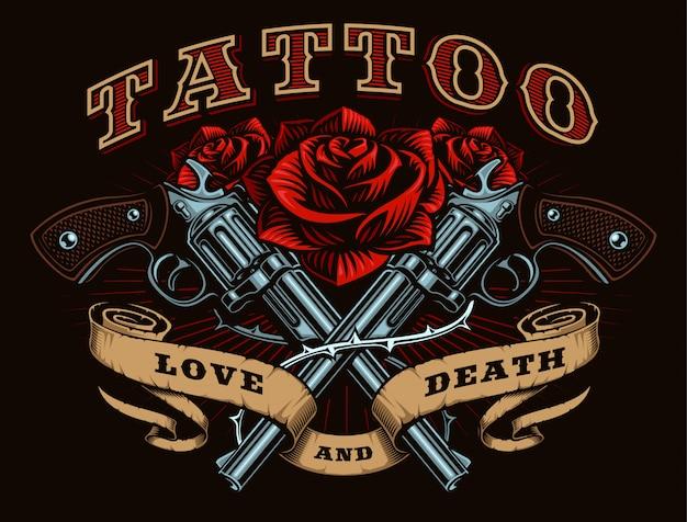 銃とバラ、タトゥーの図 Premiumベクター