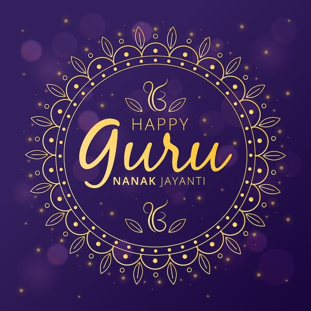 Guru nanak jayanti illustration with mandala Free Vector