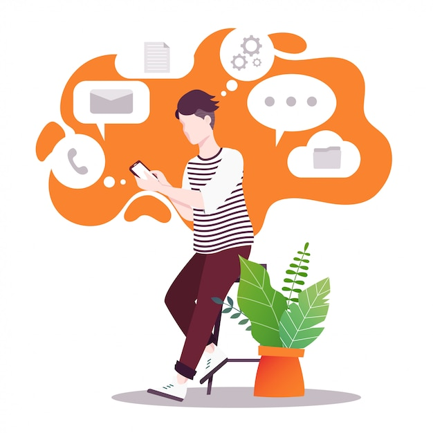 The guy holds the phone in his hands. the versatility of modern technology. Premium Vector