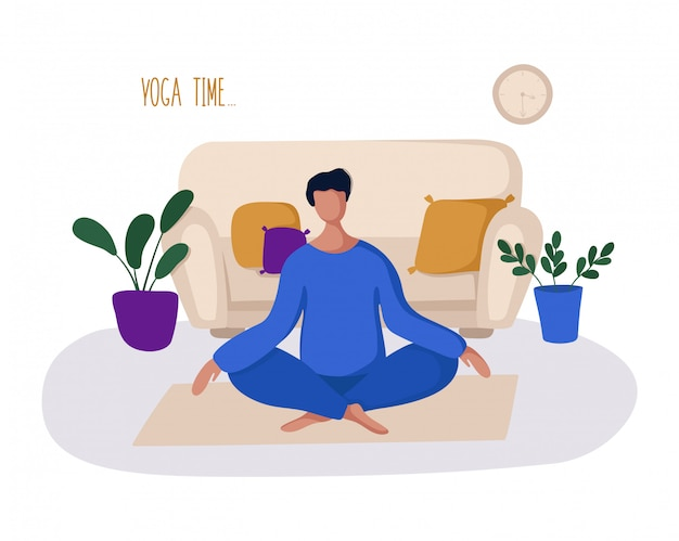 Guy or man and his hobby or daily activity - yoga, training Premium Vector