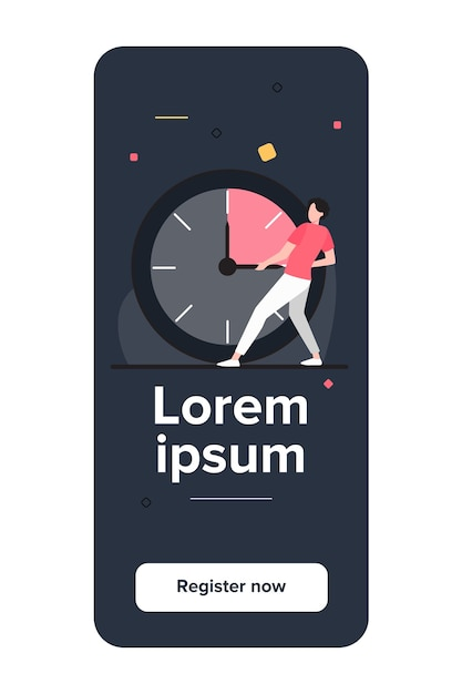 Guy moving clock hands. man stopping time flat vector illustration Free Vector
