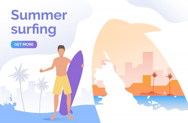 Guy in shorts holding surfboard Free Vector
