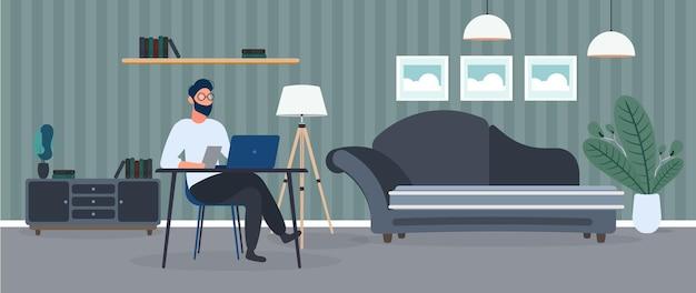 眼鏡をかけた男は彼のオフィスのイラストのテーブルに座っています Premiumベクター