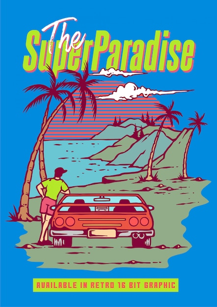 A guy with retro sport car enjoying summer season on the beach and mountain in 80's retro video game Premium Vector