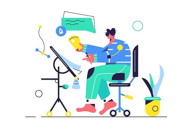 흰색 배경에 고립 된 의자에 앉아 테이블에서 프로젝트에서 작업하는 사람, 프리미엄 벡터