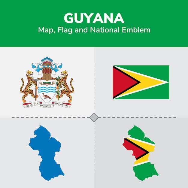 Guyana Map Flag and National Emblem Vector Premium Download