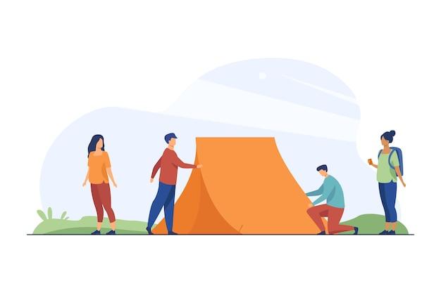 자연에 텐트를 치고있는 남자들과 보는 여자들 무료 벡터