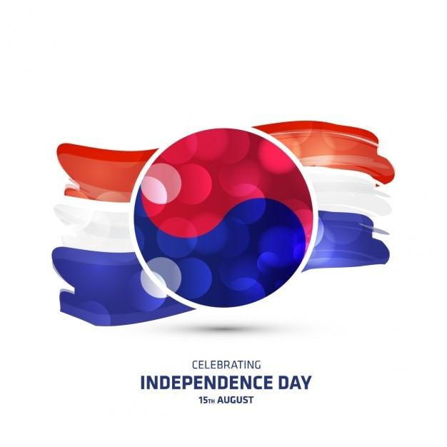 Южной кореи gwangbokjeol день светящийся флаг Бесплатные векторы