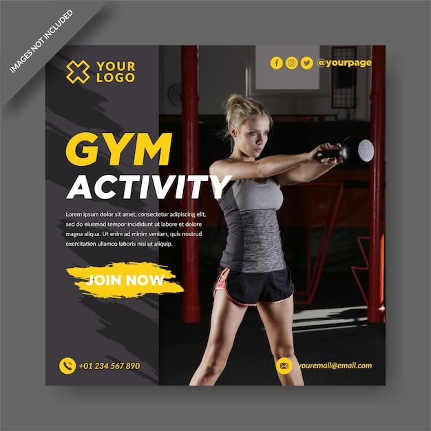 체육관 활동 Instagram 및 소셜 미디어 게시물 디자인 벡터 프리미엄 벡터